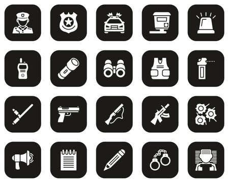 Police Highway Patrol Icons White On Black Set Big Illustration
