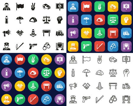 Peaceful Protest Or Demonstration Icons -Black & White-Color Flat Design-Thin Line- Set