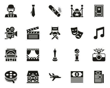 Actor Movie Or Theater Icons Black & White Set Big Vector Illustration