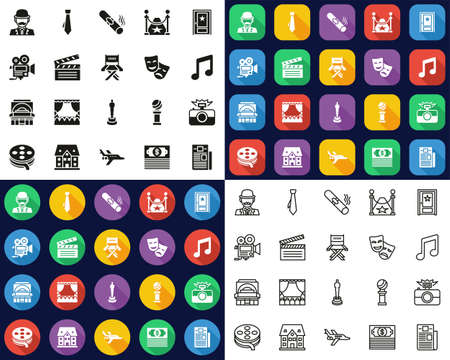 Actor Movie Or Theater Icons All in One Icons -Black & White-Color Flat Design-Thin Line- Set