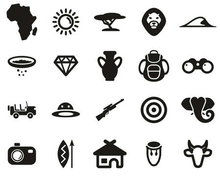 Africa Or African Culture Icons Black & White Set Big