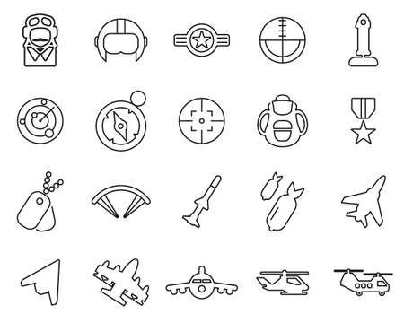 Air Force Icons Thin Line Set Big