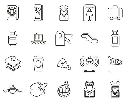 Airport Icons Thin Line Set Big