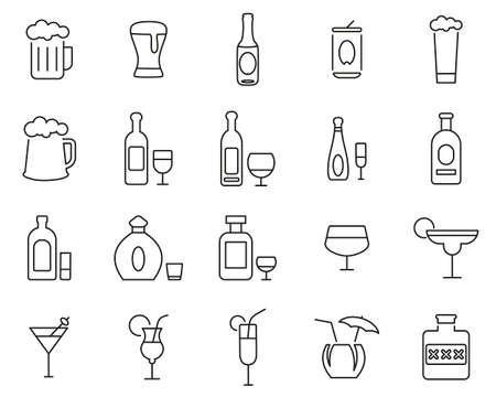 Iconos de bebidas alcohólicas delgada línea conjunto grande