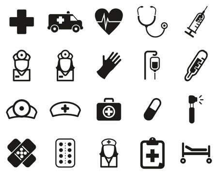 Ambulance or Emergency Response Team Icons Black & White Set Big