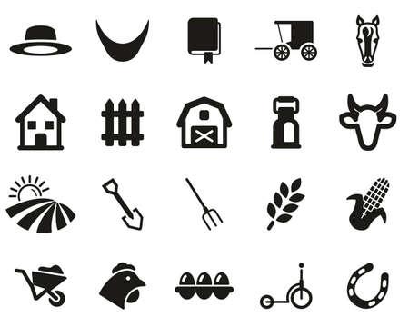 Amish Lifestyle Or Amish Culture Icons Black White Set Big