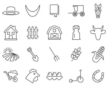 Amish Lifestyle Or Amish Culture Icons Thin Line Set Big Vektorové ilustrace
