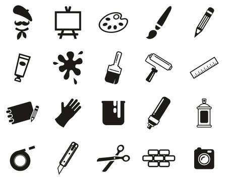 Artist Or Arts Equipment Icons Black & White Set Big