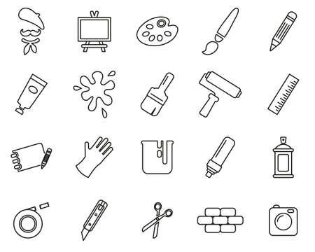 Artist Or Arts Equipment Icons Thin Line Set Big