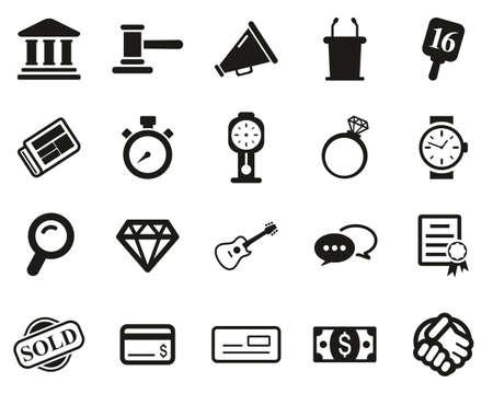 Auction Icons Black & White Set Big 向量圖像