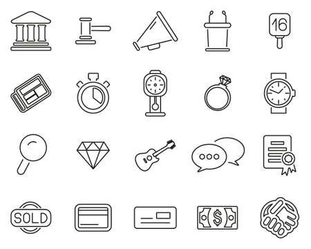 Auction Icons Thin Line Set Big 向量圖像