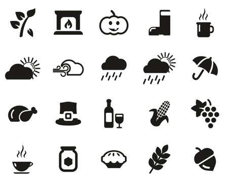 Ensemble d'icônes d'automne ou d'automne noir et blanc grand