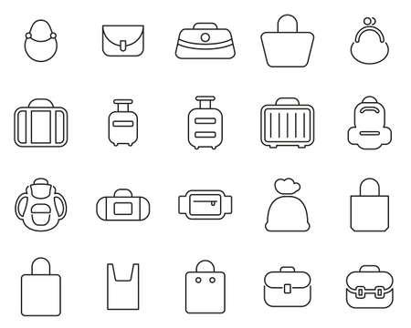 Tasche oder Etui Icons Thin Line Set BIG