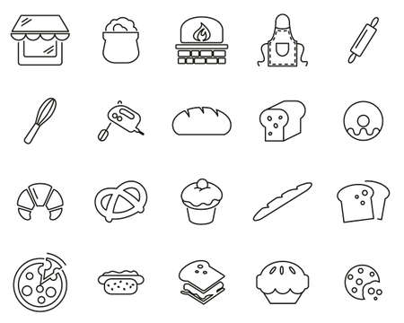 Bakery Or Bakehouse Icons Thin Line Set Big Vettoriali