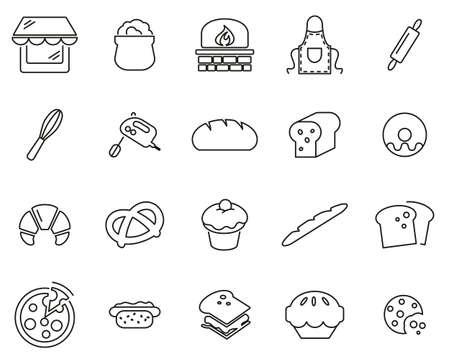 Iconos de panadería o panadería delgada línea conjunto grande