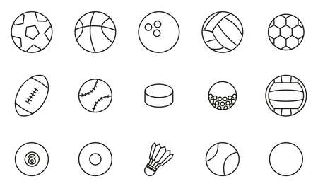 Ball Or Ball Sport Icons Thin Line Set Big Çizim