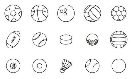 Ball Or Ball Sport Icons Thin Line Set Big Illustration