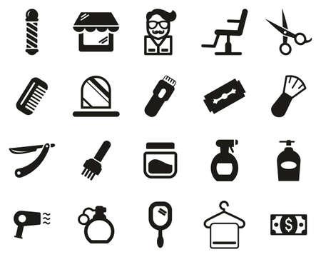 Barber Or Barber Shop Icons Black & White Set Big