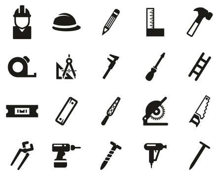 Set di icone in bianco e nero di carpentiere grande