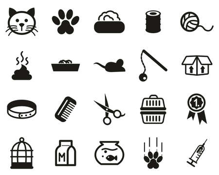 Kot Lub Koci Ikony Czarno-Biały Zestaw Duży Ilustracje wektorowe