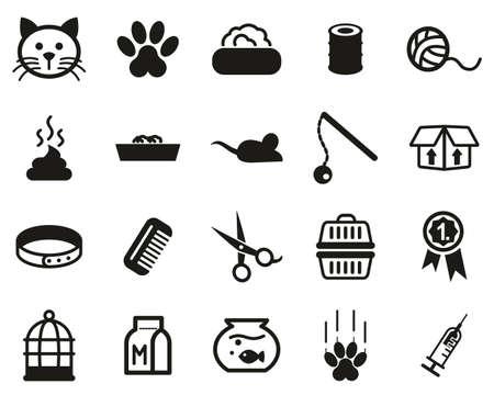 Set di icone di gatto o felino in bianco e nero grandi Vettoriali