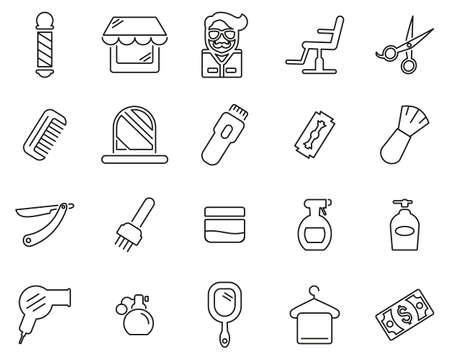 Barber Or Barber Shop Icons Thin Line Set Big Illustration