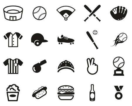 Baseball Icons Black & White Set Big