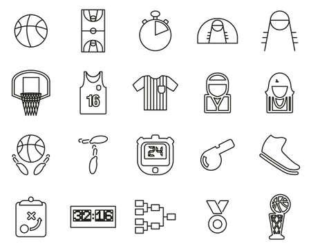 Basketball Icons Thin Line Set Big