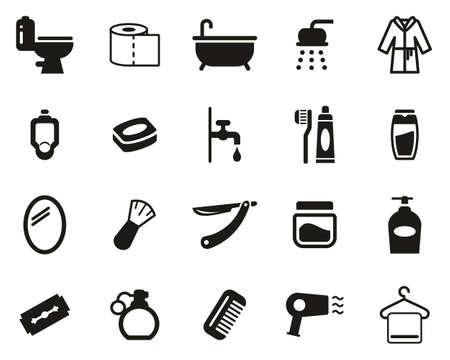 Conjunto de iconos de baño o ducha blanco y negro grande