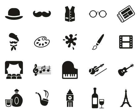Bohemian Lifestyle Icons Black & White Set Big Ilustração