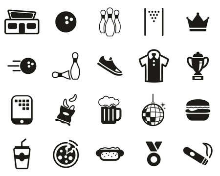 Bowling Or Bowling Alley Icons Black & White Set Big