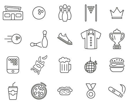 Bowling Or Bowling Alley Icons Thin Line Set Big