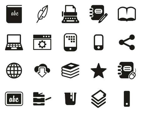 Book Publishing Icons Black & White Set Big  イラスト・ベクター素材