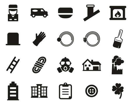 Chimney Sweeper Tools & Equipment Icons Black & White Set Big