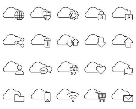 Cloud Service Thin Line Set Big