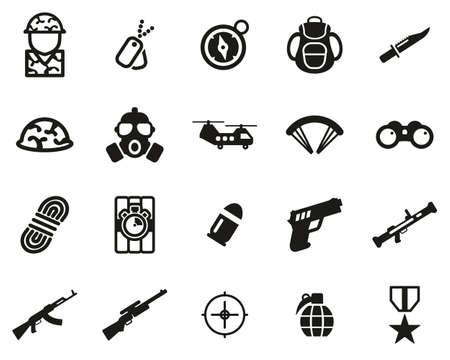 Commandos Or Special Forces Icons Black & White Set Big