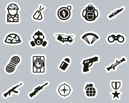Commandos Or Special Forces Icons Black & White Sticker Set Big Stock fotó - 138082400