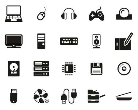 Computer Hardware Icons Black & White Set Big 向量圖像