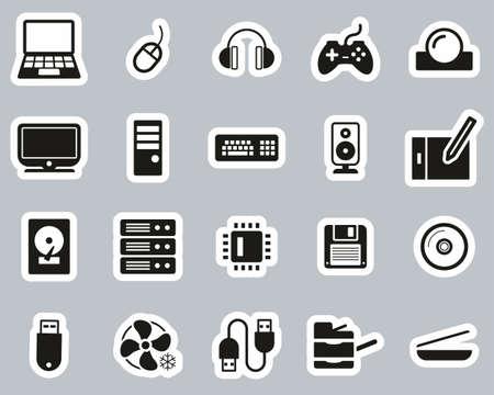 Computer Hardware Icons Black & White Sticker Set Big