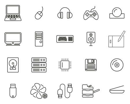 Computer Hardware Icons Thin Line Set Big