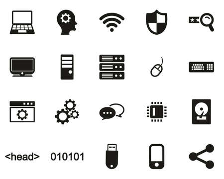 Computer Programming Icons Black & White Set Big