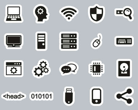 Computer Programming Icons Black & White Sticker Set Big