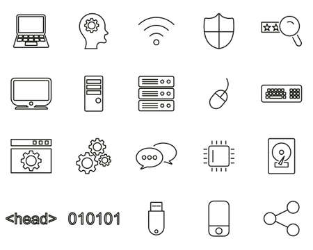Computer Programming Icons Thin Line Set Big
