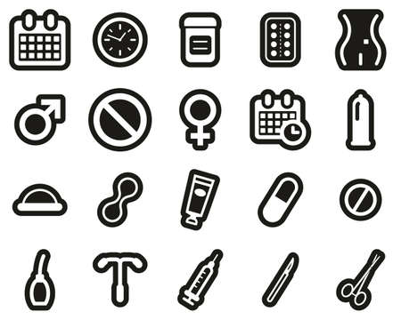 Contraception Methods Icons White On Black Sticker Set Big