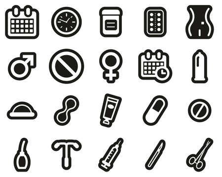 Contraception Methods Icons White On Black Sticker Set Big