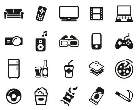 Couch Potato Icons Black & White Set Big
