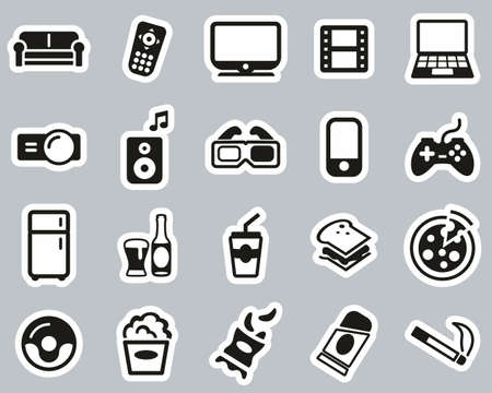Couch Potato Icons Black & White Sticker Set Big Ilustracja