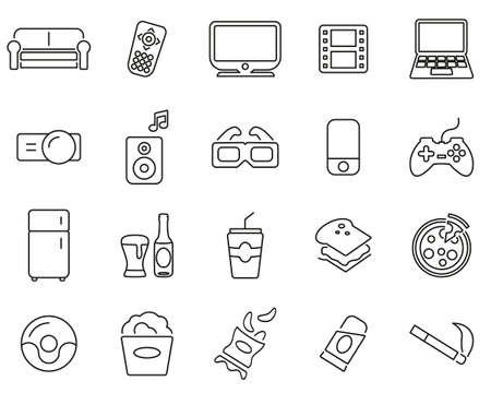 Couch Potato Icons Thin Line Black & White Set Big