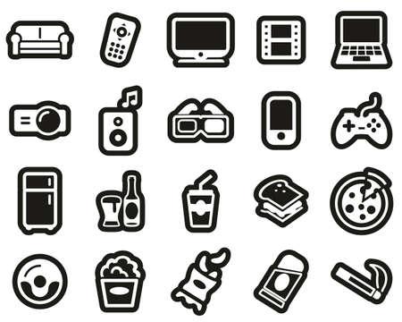Couch Potato Icons White On Black Sticker Set Big