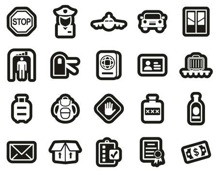 Customs Icons White On Black Sticker Set Big